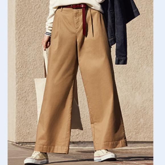 8756e8edc8 Uniqlo Pants | High Waist Wide Leg Cropped Chinos | Poshmark